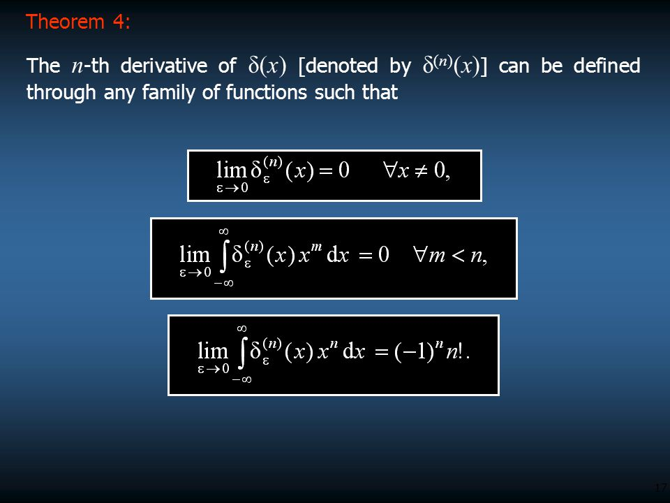 Theorem 4: The n-th derivative of δ(x) [denoted by δ(n)(x)] can be defined through any family of functions such that.